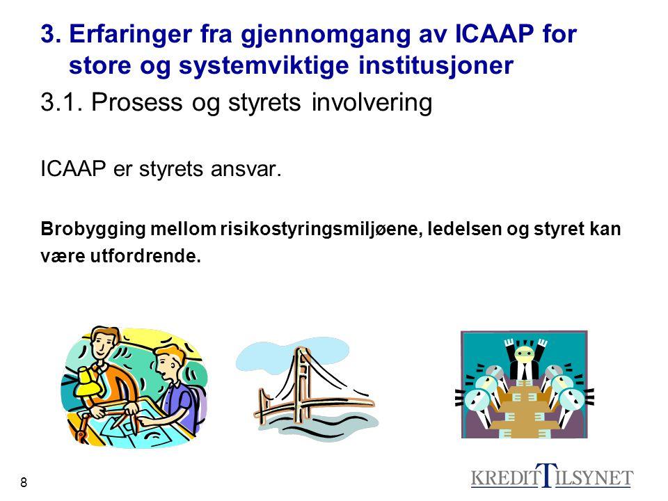 8 3. Erfaringer fra gjennomgang av ICAAP for store og systemviktige institusjoner 3.1.