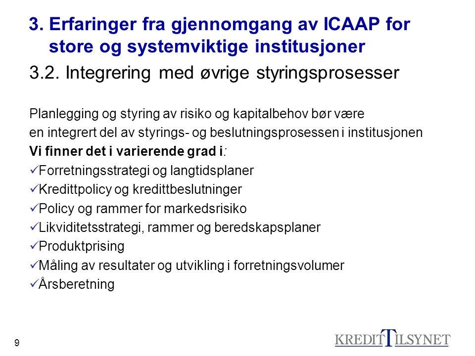 10 3.Erfaringer fra gjennomgang av ICAAP for store og systemviktige institusjoner 3.3.