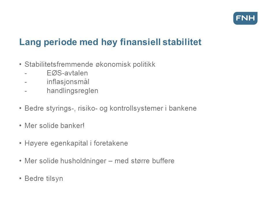 Lang periode med høy finansiell stabilitet Stabilitetsfremmende økonomisk politikk -EØS-avtalen -inflasjonsmål -handlingsreglen Bedre styrings-, risiko- og kontrollsystemer i bankene Mer solide banker.