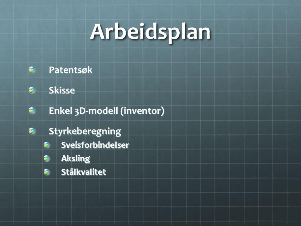 Arbeidsplan PatentsøkSkisse Enkel 3D-modell (inventor) StyrkeberegningSveisforbindelserAkslingStålkvalitet