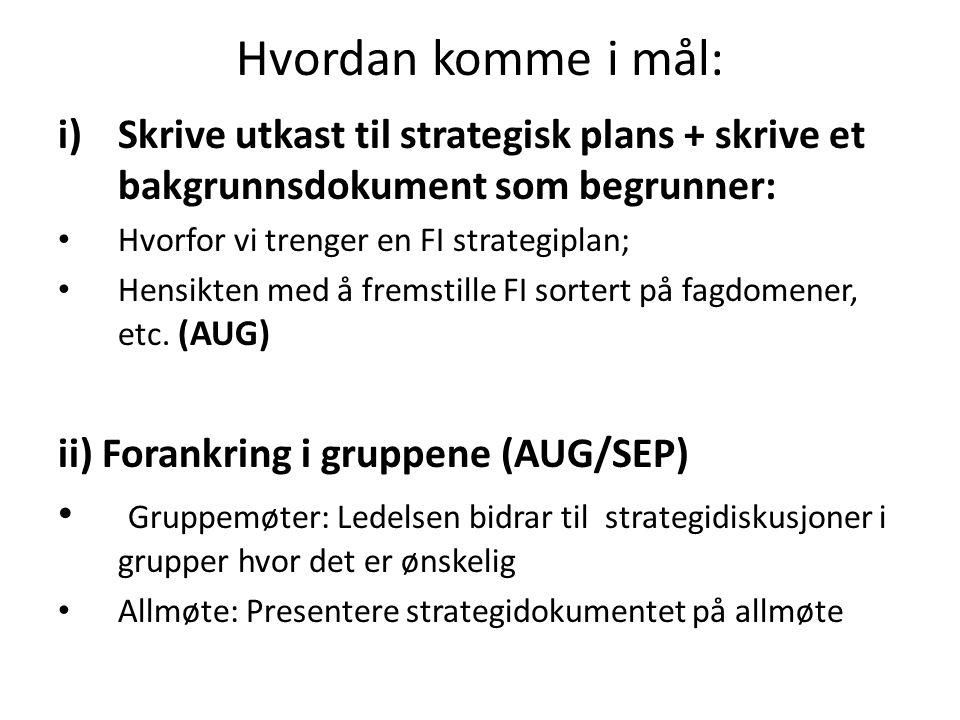 Hvordan komme i mål: i)Skrive utkast til strategisk plans + skrive et bakgrunnsdokument som begrunner: Hvorfor vi trenger en FI strategiplan; Hensikten med å fremstille FI sortert på fagdomener, etc.