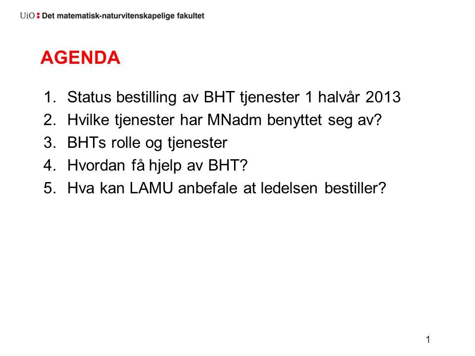 AGENDA 1.Status bestilling av BHT tjenester 1 halvår 2013 2.Hvilke tjenester har MNadm benyttet seg av.