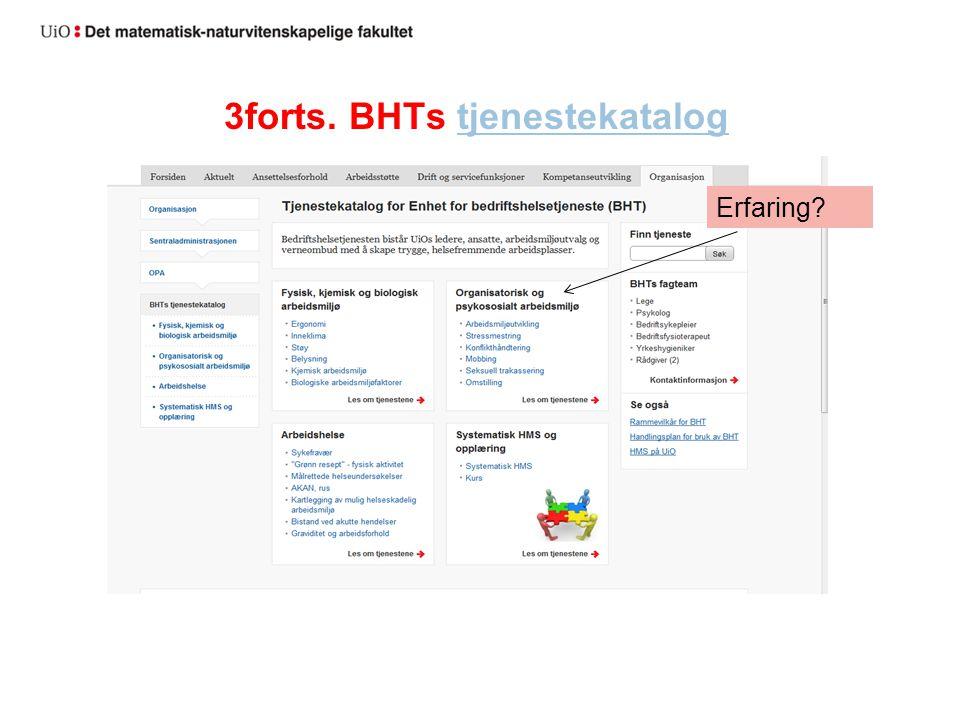 3forts. BHTs tjenestekatalogtjenestekatalog Erfaring