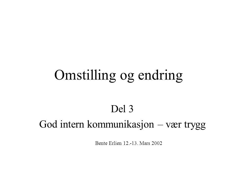 Omstilling og endring Del 3 God intern kommunikasjon – vær trygg Bente Erlien 12.-13. Mars 2002