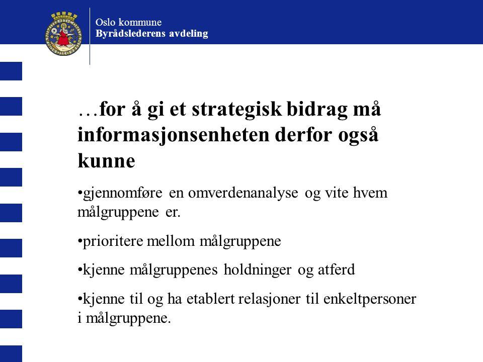 Oslo kommune Byrådslederens avdeling Virk- somhet De som setter rammer Der som har ad hoc interesser De som har faglig kunnskap De som har en funksjonell relasjon Eksterne aktører AnsatteAndre avd.