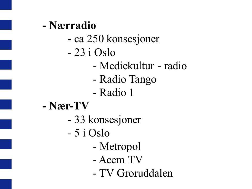 - Nærradio - ca 250 konsesjoner - 23 i Oslo - Mediekultur - radio - Radio Tango - Radio 1 - Nær-TV - 33 konsesjoner - 5 i Oslo - Metropol - Acem TV - TV Groruddalen