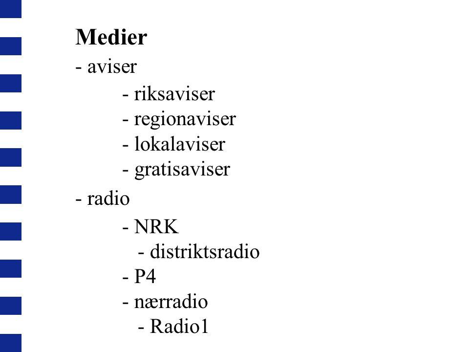 Medier - aviser - riksaviser - regionaviser - lokalaviser - gratisaviser - radio - NRK - distriktsradio - P4 - nærradio - Radio1