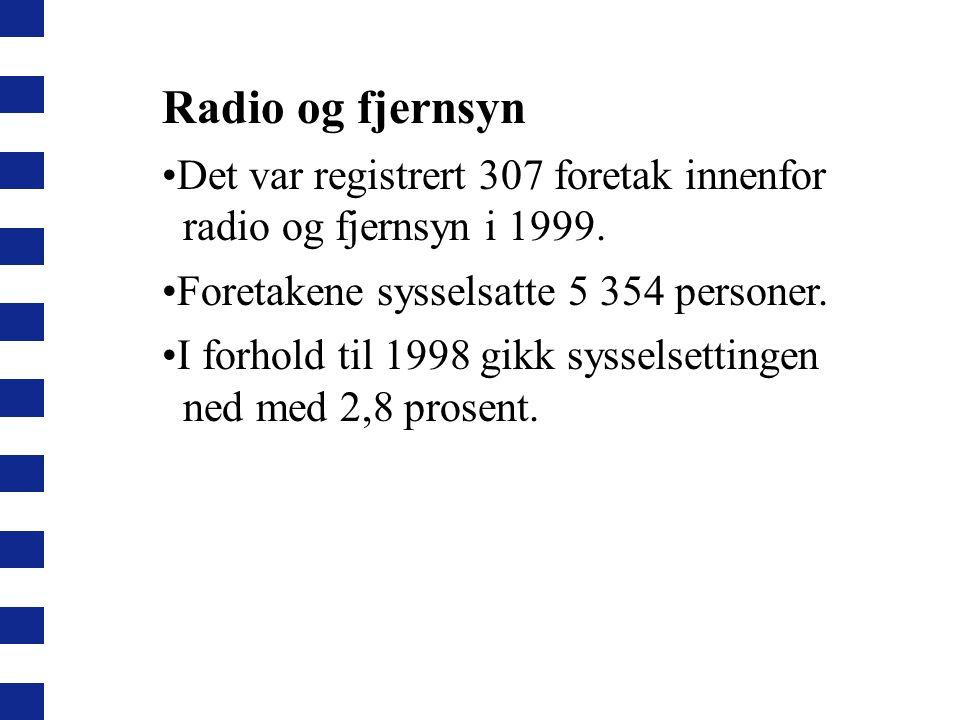 Radio og fjernsyn Det var registrert 307 foretak innenfor radio og fjernsyn i 1999.