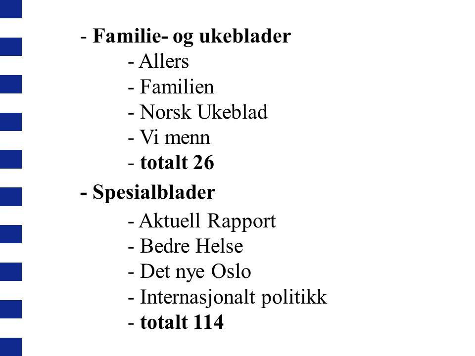 - Familie- og ukeblader - Allers - Familien - Norsk Ukeblad - Vi menn - totalt 26 - Spesialblader - Aktuell Rapport - Bedre Helse - Det nye Oslo - Internasjonalt politikk - totalt 114 -