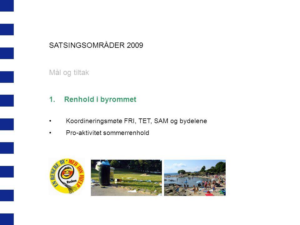 SATSINGSOMRÅDER 2009 Mål og tiltak 1.Renhold i byrommet Koordineringsmøte FRI, TET, SAM og bydelene Pro-aktivitet sommerrenhold