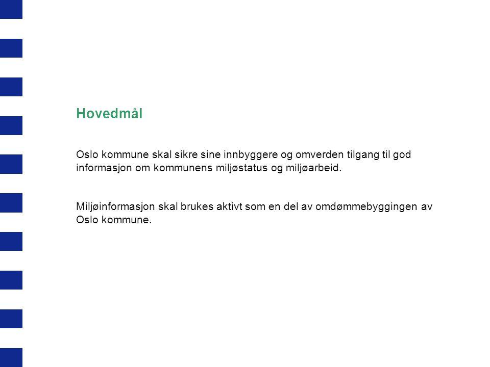 Hovedmål Oslo kommune skal sikre sine innbyggere og omverden tilgang til god informasjon om kommunens miljøstatus og miljøarbeid. Miljøinformasjon ska