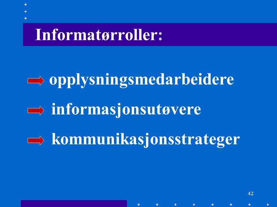 42 Informatørroller: opplysningsmedarbeidere informasjonsutøvere kommunikasjonsstrateger