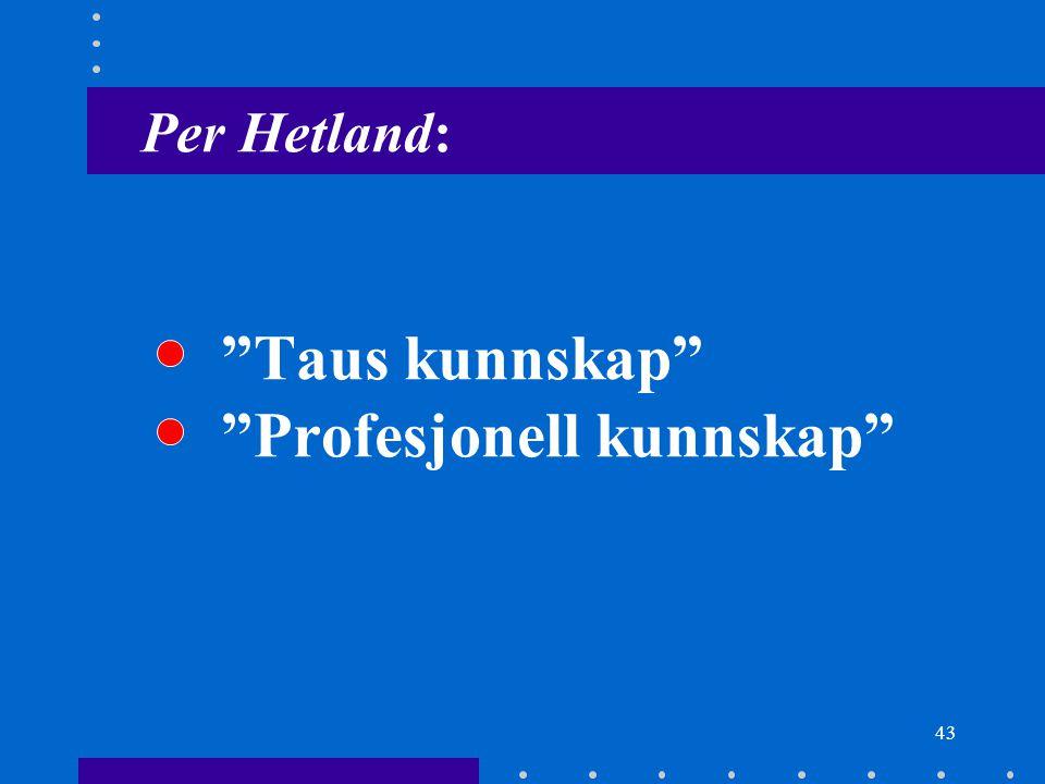 "43 Per Hetland: ""Taus kunnskap"" ""Profesjonell kunnskap"""