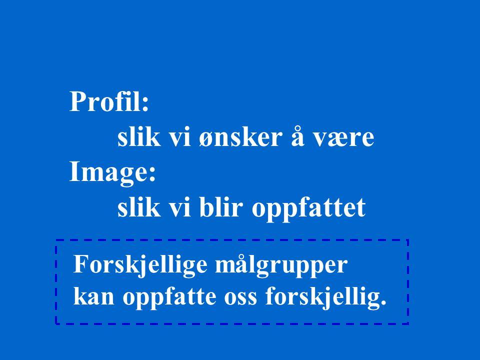 Profil: slik vi ønsker å være Image: slik vi blir oppfattet Forskjellige målgrupper kan oppfatte oss forskjellig.