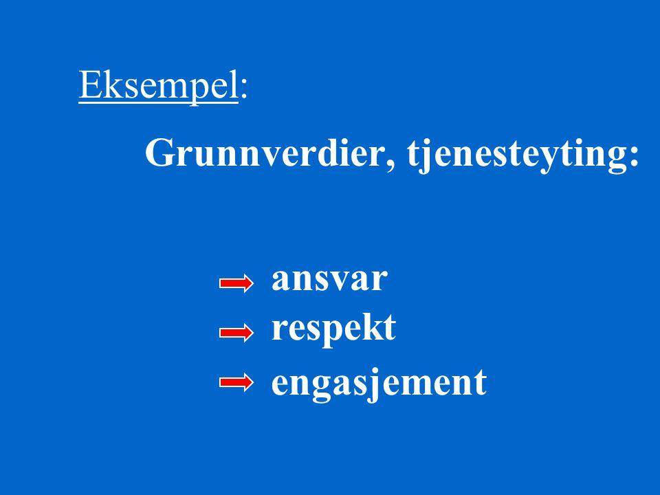 Eksempel: Grunnverdier, tjenesteyting: ansvar respekt engasjement