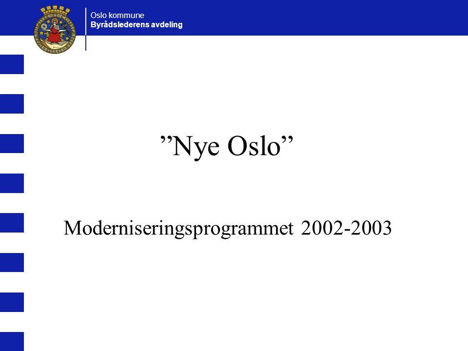Oslo kommune Byrådslederens avdeling Nye Oslo Moderniseringsprogrammet 2002-2003