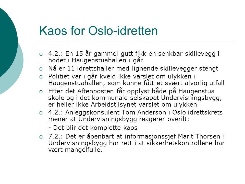 Kaos for Oslo-idretten  4.2.: En 15 år gammel gutt fikk en senkbar skillevegg i hodet i Haugenstuahallen i går  Nå er 11 idrettshaller med lignende