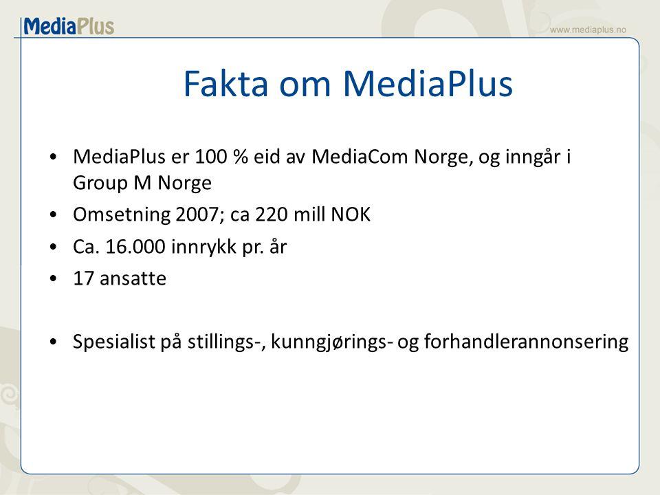 Fakta om MediaPlus MediaPlus er 100 % eid av MediaCom Norge, og inngår i Group M Norge Omsetning 2007; ca 220 mill NOK Ca. 16.000 innrykk pr. år 17 an