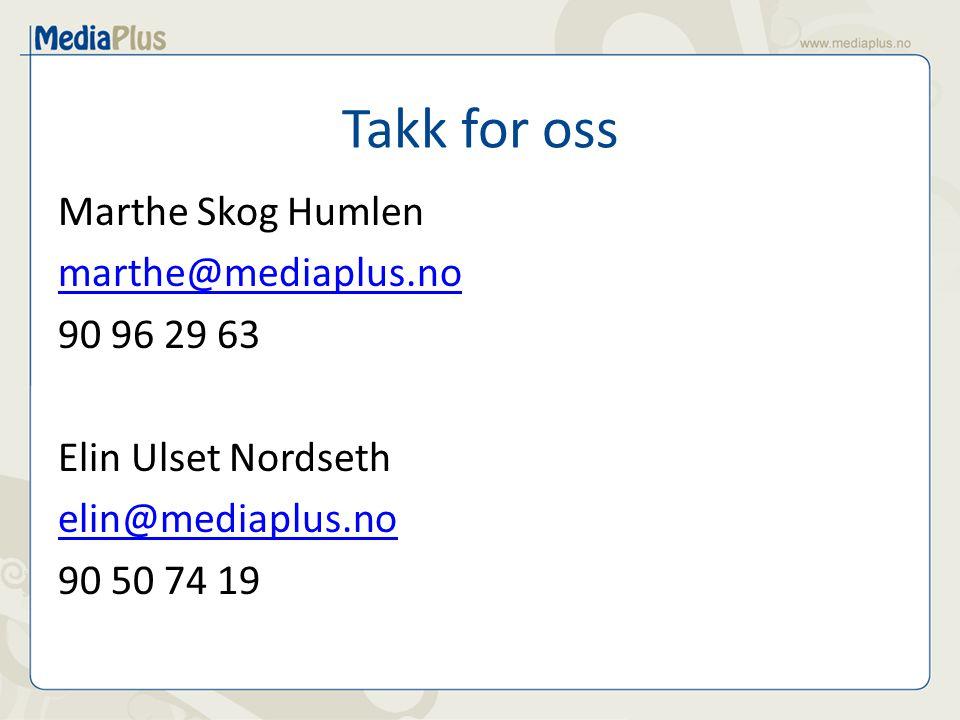 Takk for oss Marthe Skog Humlen marthe@mediaplus.no 90 96 29 63 Elin Ulset Nordseth elin@mediaplus.no 90 50 74 19