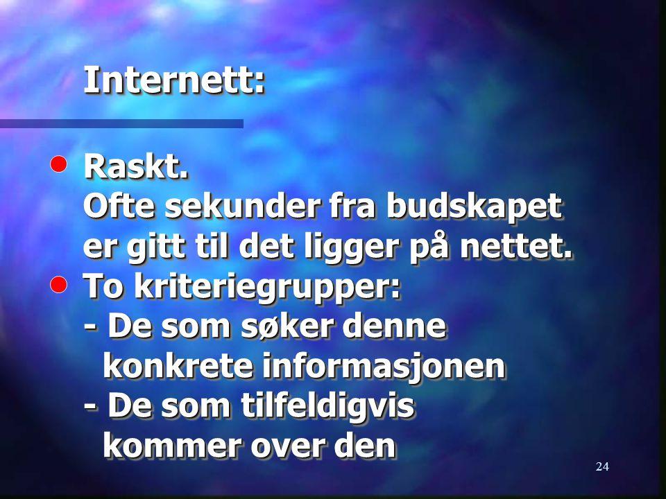 24 Internett: Raskt. Ofte sekunder fra budskapet er gitt til det ligger på nettet. To kriteriegrupper: - De som søker denne konkrete informasjonen - D