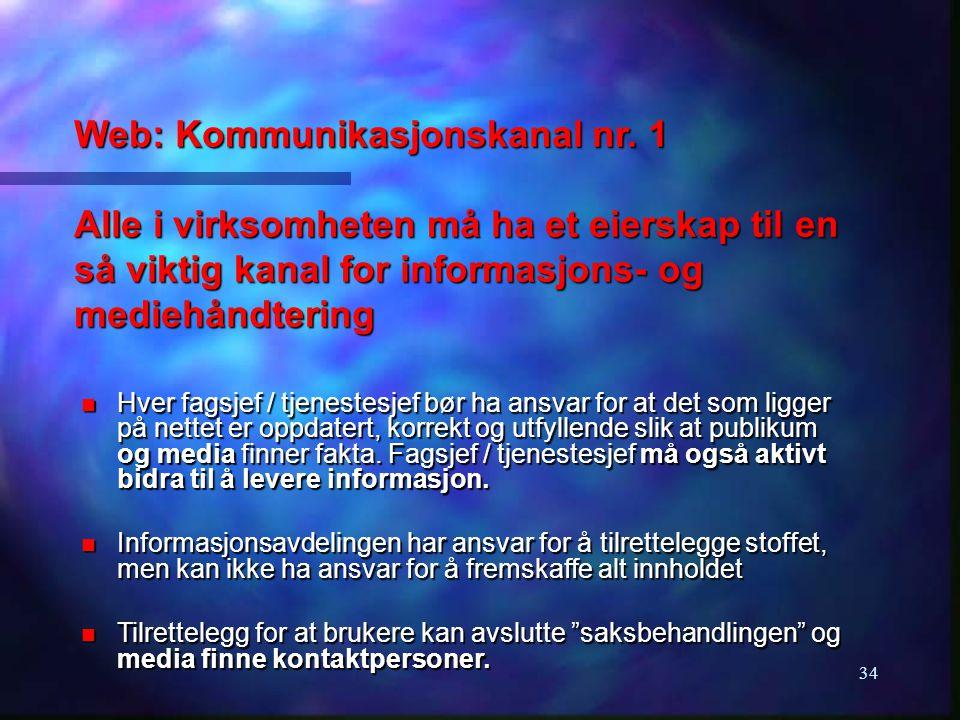34 Web: Kommunikasjonskanal nr. 1 Alle i virksomheten må ha et eierskap til en så viktig kanal for informasjons- og mediehåndtering n Hver fagsjef / t