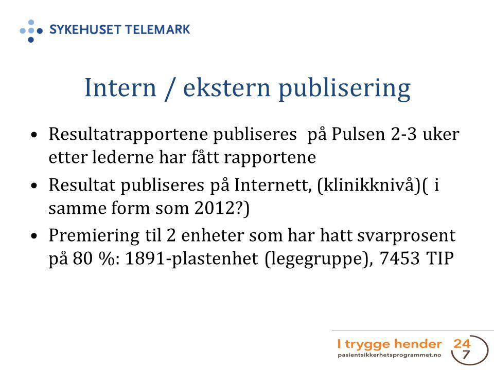 Intern / ekstern publisering Resultatrapportene publiseres på Pulsen 2-3 uker etter lederne har fått rapportene Resultat publiseres på Internett, (klinikknivå)( i samme form som 2012?) Premiering til 2 enheter som har hatt svarprosent på 80 %: 1891-plastenhet (legegruppe), 7453 TIP