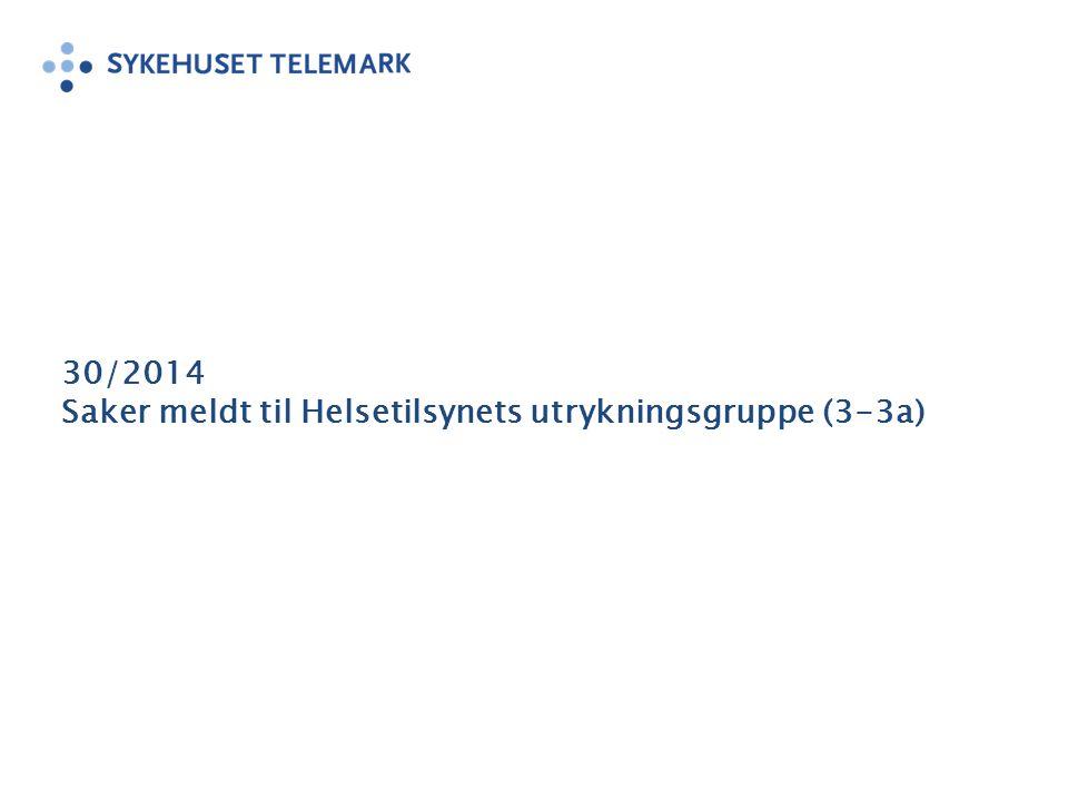 30/2014 Saker meldt til Helsetilsynets utrykningsgruppe (3-3a)
