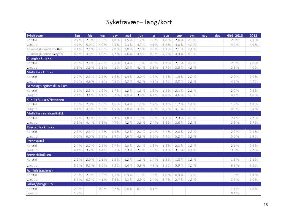 Sykefravær – lang/kort 23 4. Bemanning