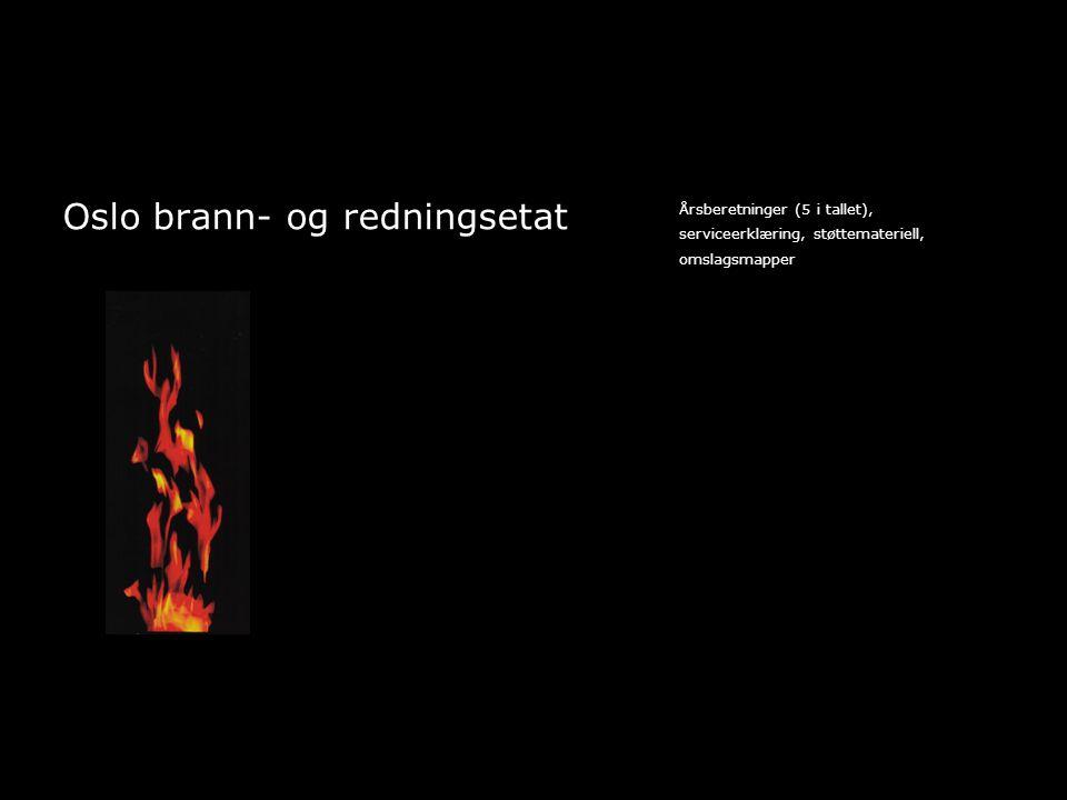 Oslo brann- og redningsetat Årsberetninger (5 i tallet), serviceerklæring, støttemateriell, omslagsmapper