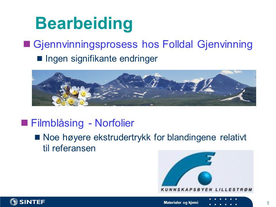 Materialer og kjemi 5 Bearbeiding Gjennvinningsprosess hos Folldal Gjenvinning Ingen signifikante endringer Filmblåsing - Norfolier Noe høyere ekstrud