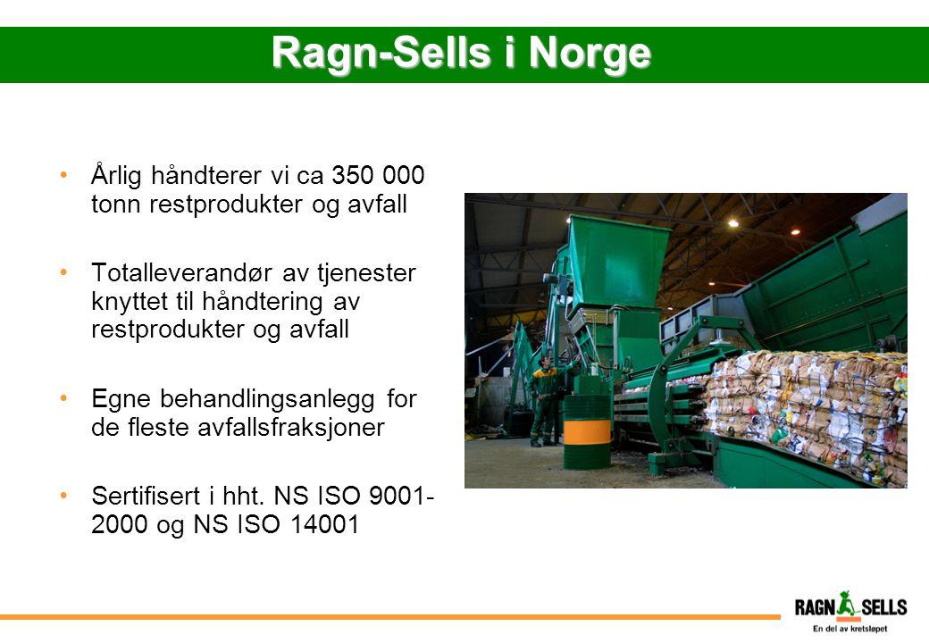 Ragn-Sells i Norge Årlig håndterer vi ca 350 000 tonn restprodukter og avfall Totalleverandør av tjenester knyttet til håndtering av restprodukter og
