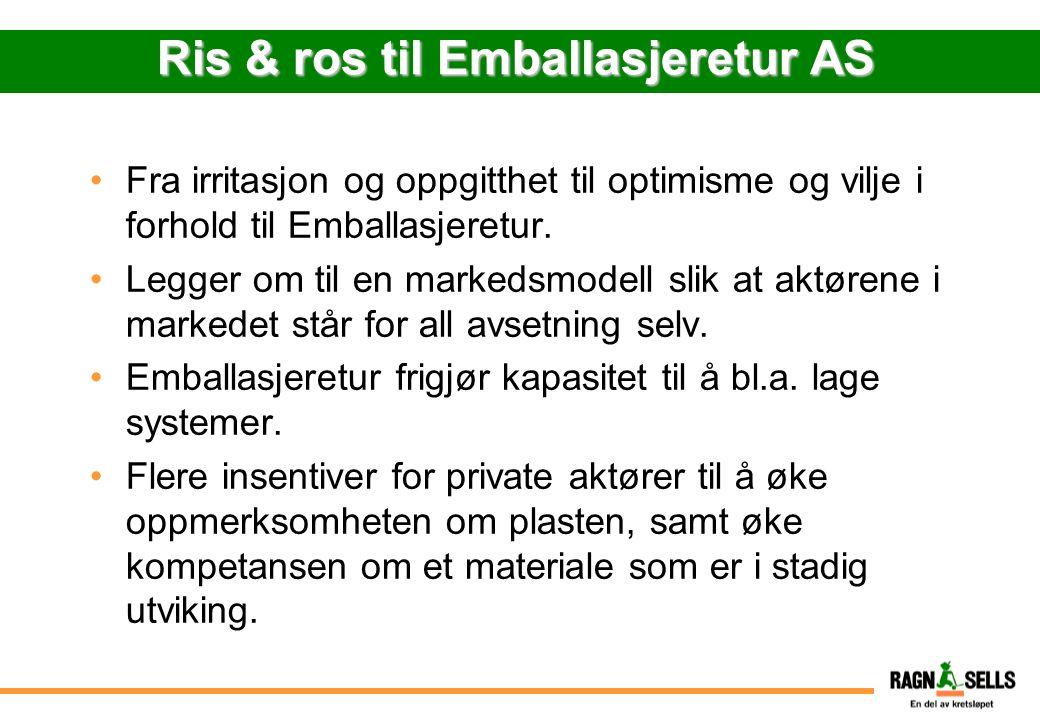 Ris & ros til Emballasjeretur AS Fra irritasjon og oppgitthet til optimisme og vilje i forhold til Emballasjeretur. Legger om til en markedsmodell sli