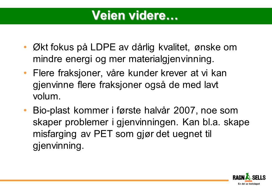 Veien videre… Økt fokus på LDPE av dårlig kvalitet, ønske om mindre energi og mer materialgjenvinning. Flere fraksjoner, våre kunder krever at vi kan