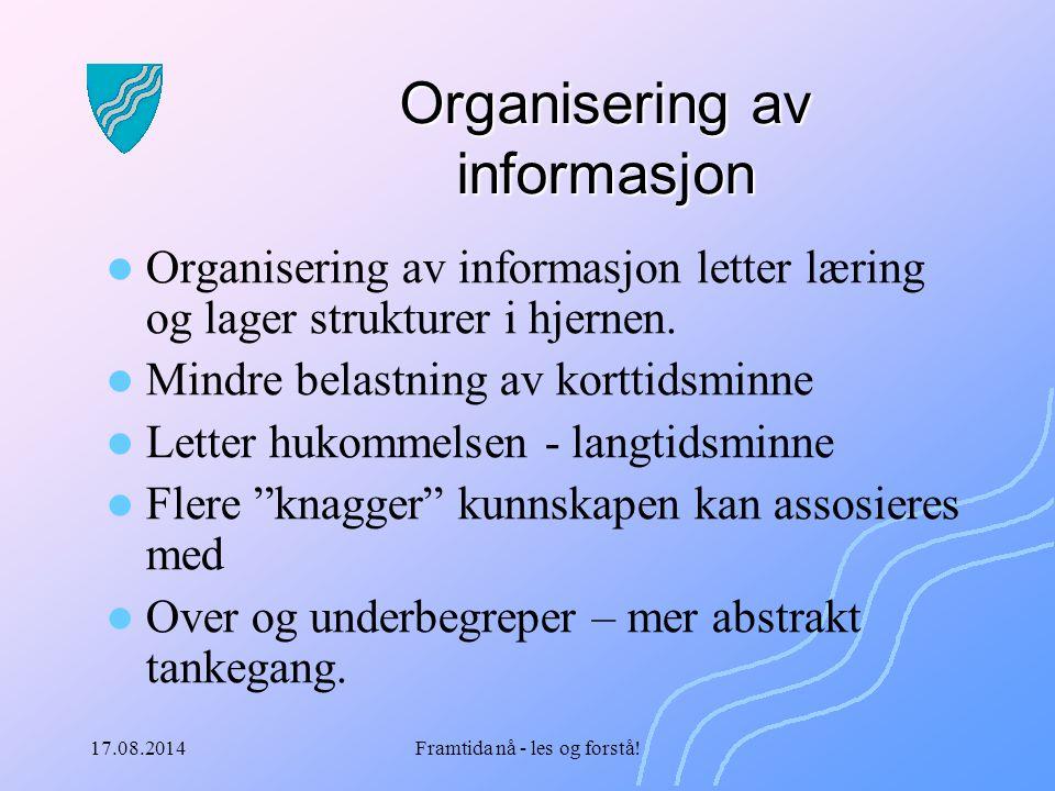 17.08.2014Framtida nå - les og forstå! Organisering av informasjon Organisering av informasjon letter læring og lager strukturer i hjernen. Mindre bel