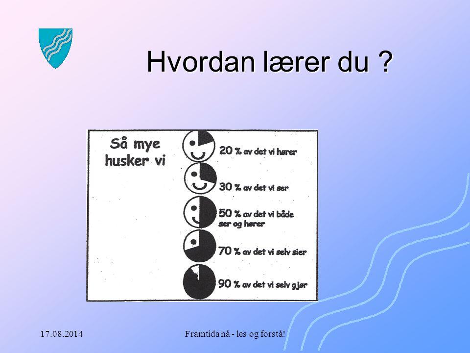 17.08.2014Framtida nå - les og forstå! Hvordan lærer du ?