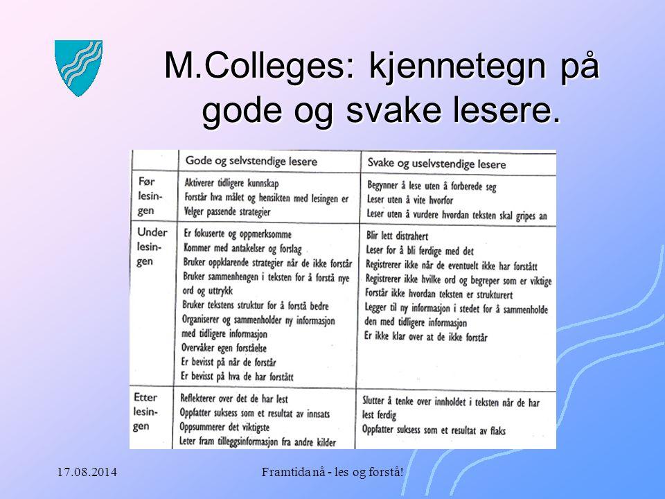 17.08.2014Framtida nå - les og forstå! M.Colleges: kjennetegn på gode og svake lesere.