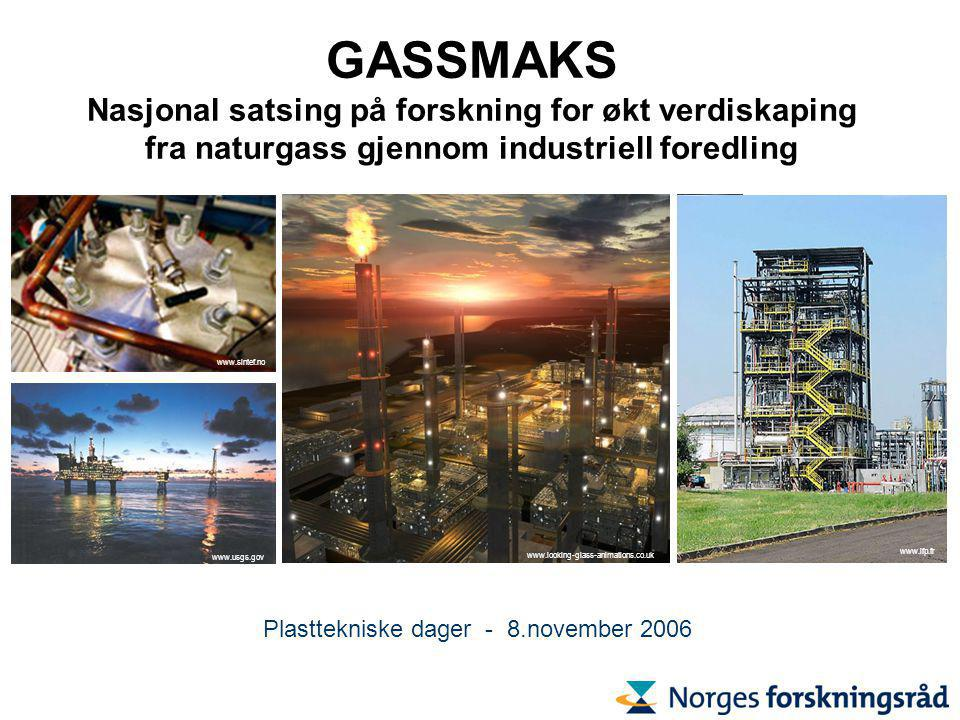 GASSMAKS Nasjonal satsing på forskning for økt verdiskaping fra naturgass gjennom industriell foredling www.looking-glass-animations.co.uk www.usgs.gov www.sintef.no www.ifp.fr Plasttekniske dager - 8.november 2006