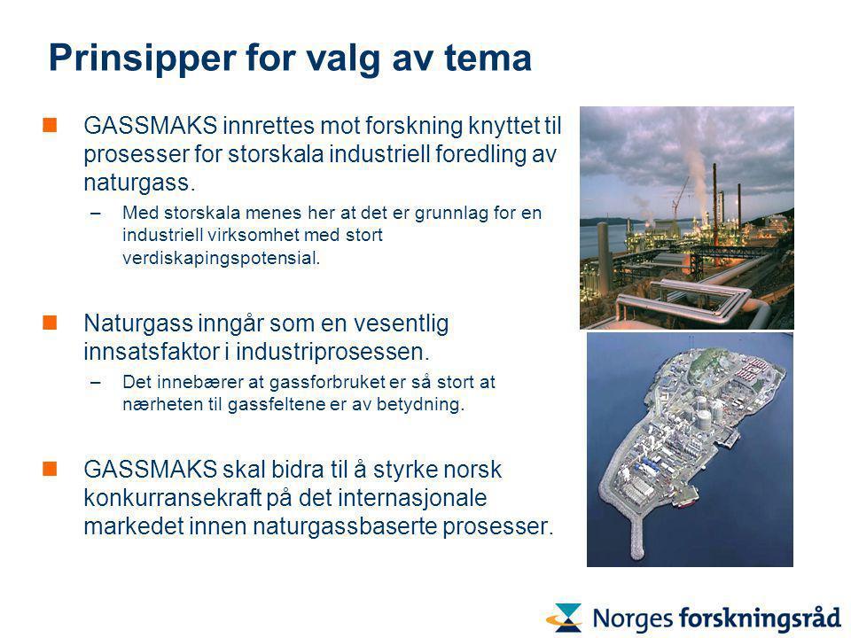 Prinsipper for valg av tema GASSMAKS innrettes mot forskning knyttet til prosesser for storskala industriell foredling av naturgass.
