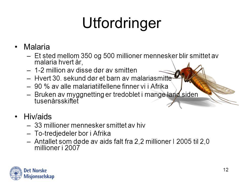 Utfordringer Malaria –Et sted mellom 350 og 500 millioner mennesker blir smittet av malaria hvert år, –1-2 million av disse dør av smitten –Hvert 30.