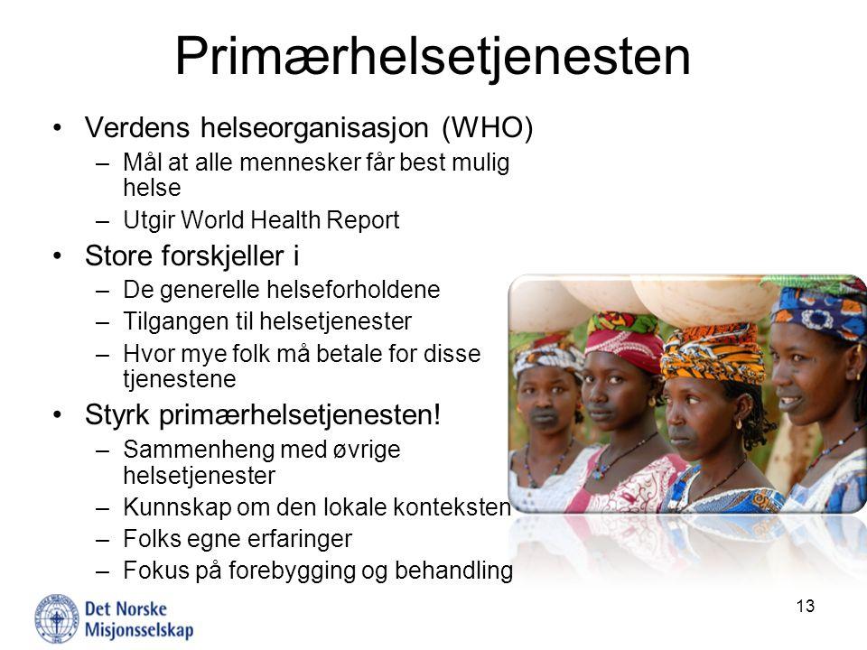 Primærhelsetjenesten Verdens helseorganisasjon (WHO) –Mål at alle mennesker får best mulig helse –Utgir World Health Report Store forskjeller i –De ge