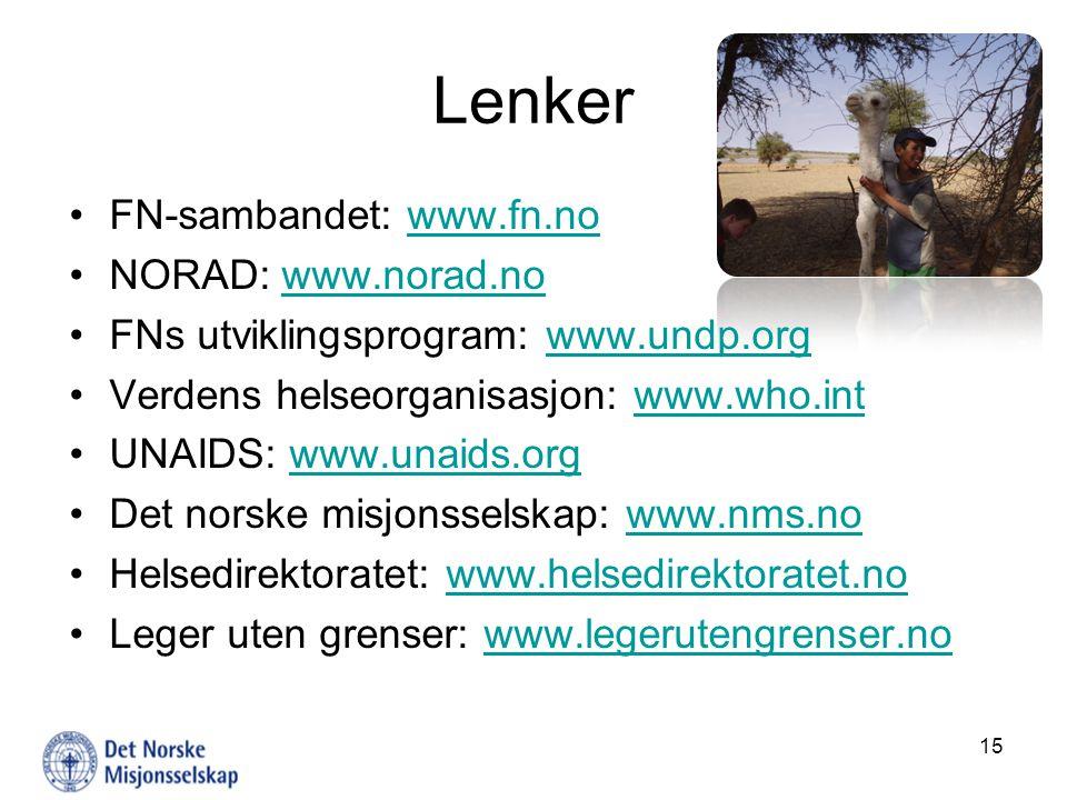 Lenker FN-sambandet: www.fn.nowww.fn.no NORAD: www.norad.nowww.norad.no FNs utviklingsprogram: www.undp.orgwww.undp.org Verdens helseorganisasjon: www