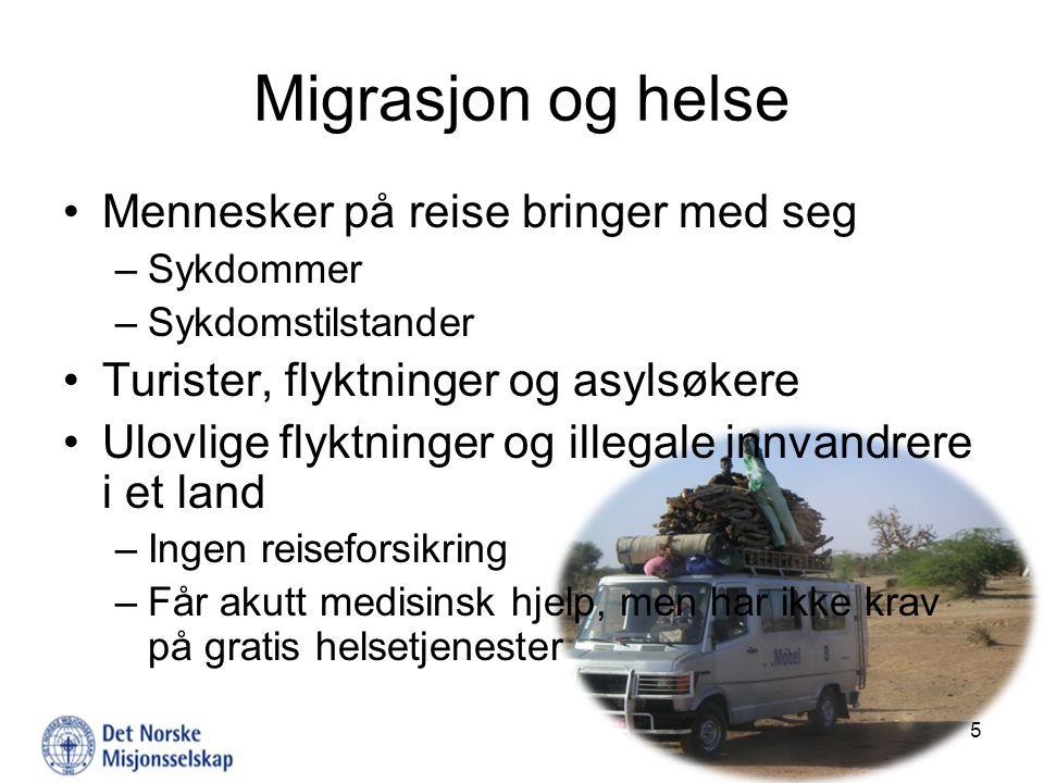 Migrasjon og helse Mennesker på reise bringer med seg –Sykdommer –Sykdomstilstander Turister, flyktninger og asylsøkere Ulovlige flyktninger og illega