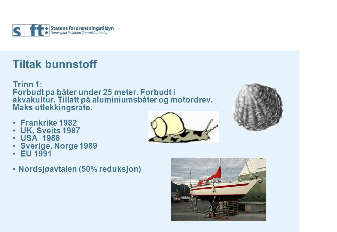 Tiltak bunnstoff Trinn 1: Forbudt på båter under 25 meter.