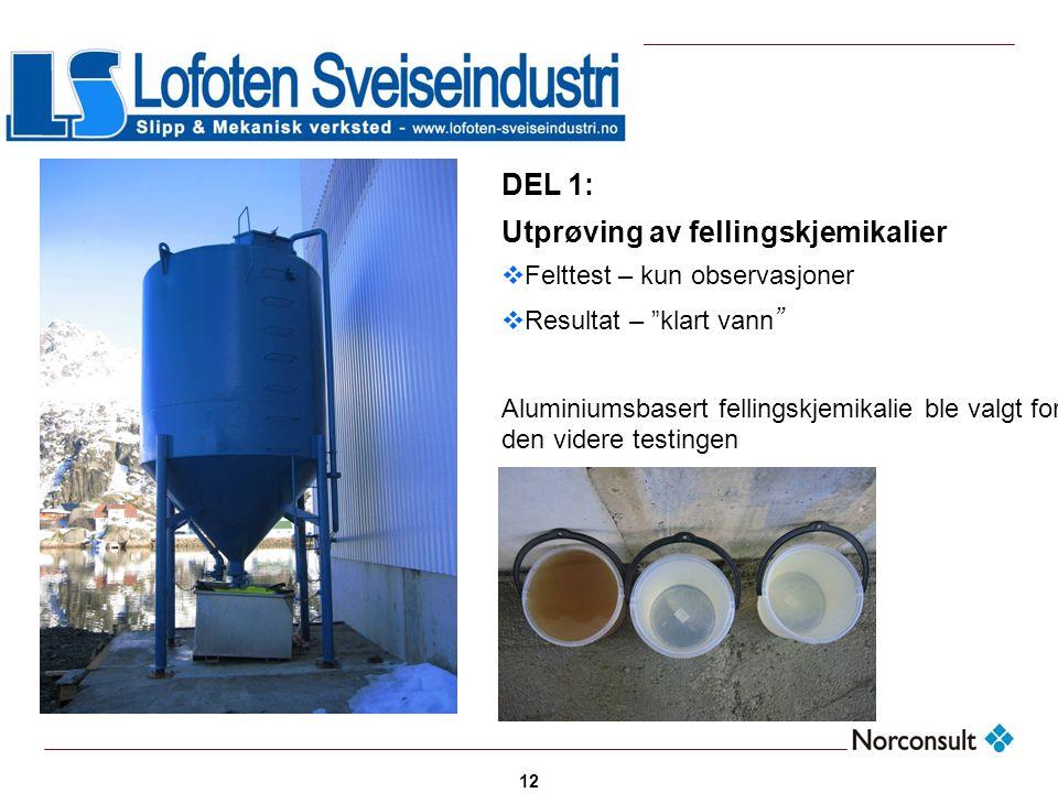 """12 DEL 1: Utprøving av fellingskjemikalier  Felttest – kun observasjoner  Resultat – """"klart vann """" Aluminiumsbasert fellingskjemikalie ble valgt for"""