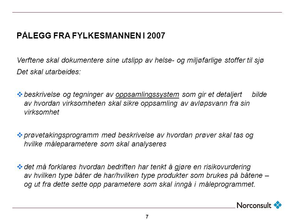 7 PÅLEGG FRA FYLKESMANNEN I 2007 Verftene skal dokumentere sine utslipp av helse- og miljøfarlige stoffer til sjø Det skal utarbeides:  beskrivelse o