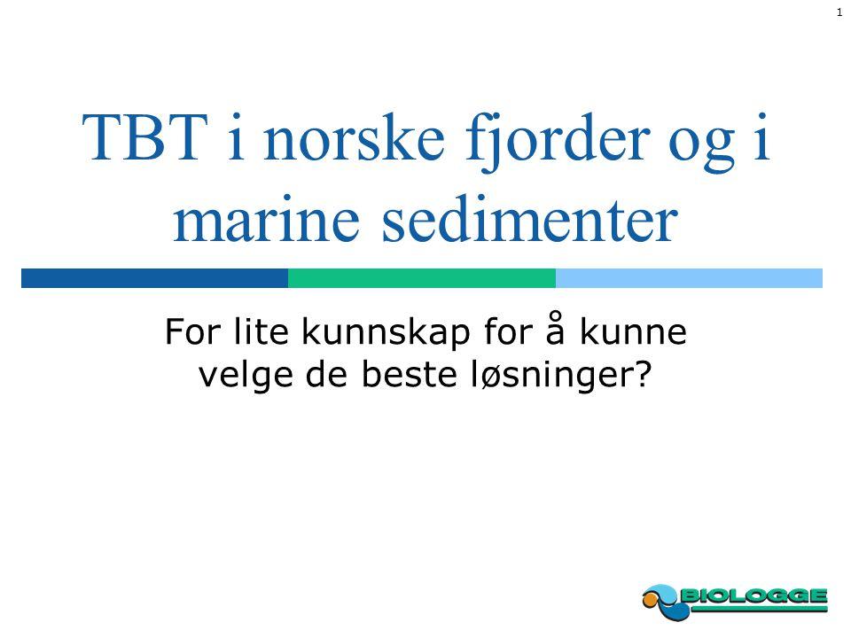 2 TBT i marine sedimenter Stor utfordring i Norge Remedieringsprosjekter stort sett vært basert på mudring av forurensede masser Hvor mye TBT har unnsluppet til væskefasen under mudringen?