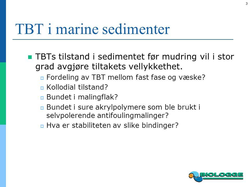 4 TBT i marine sedimenter Kun unntaksvis er sedimentet behandlet før deponering på land Svært få prosjekter (også på verdensbasis) rapporterer om in situ tilnærminger (for eksempel tildekkinger eller aktiv behandling av sedimentet) Det finnes lite grunnleggende kunnskap som understøtter effekten av in situ tilnærminger