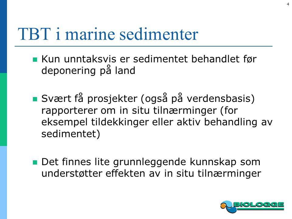 5 TBT i marine sedimenter Omfanget av TBT forurensninger i norske fjorder tilsier at nye in situ metoder (alternativer til mudring) bør gjøres tilgjengelig Dette krever at ny kunnskap fremskaffes  Både grunnleggende kunnskap, praktiske forsøk og pilotprosjekter som kan vise at nye metoder virker tilfredsstillende