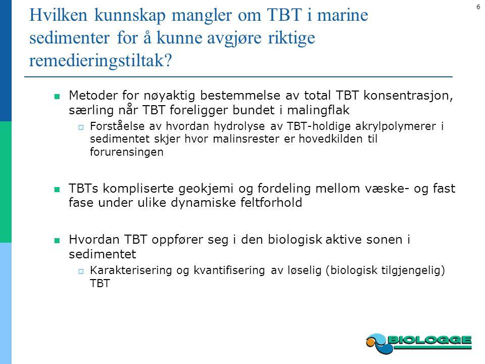 6 Hvilken kunnskap mangler om TBT i marine sedimenter for å kunne avgjøre riktige remedieringstiltak.