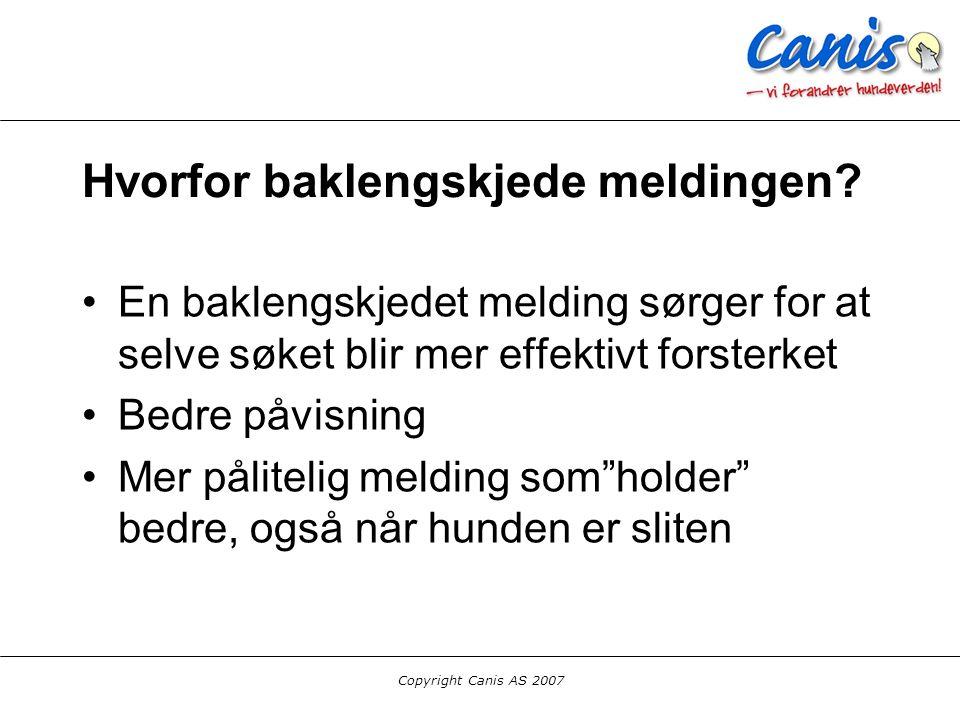 Copyright Canis AS 2007 Hvorfor baklengskjede meldingen? En baklengskjedet melding sørger for at selve søket blir mer effektivt forsterket Bedre påvis